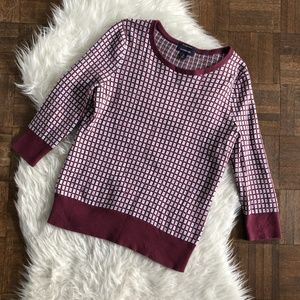 Lands' End Small Sweater Maroon Check 3/4 Sleeve